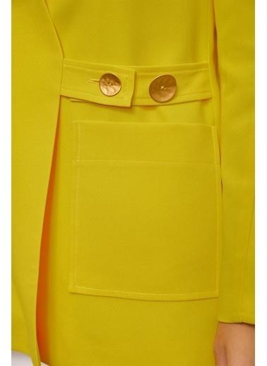 Setre Siyah Kruvaze Uzun Kol Ceket Sarı